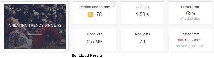 RunCloud on Avada speed test pingdom