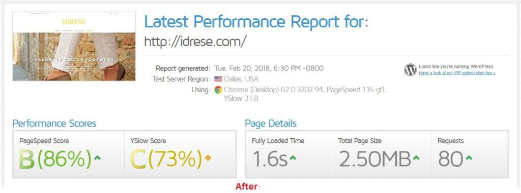optimized load time after wordpress speed up service