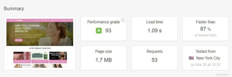 fast website 1 second load time